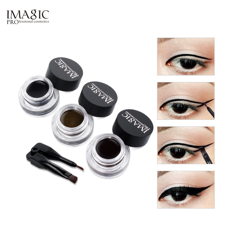 IMAGIC Eyeliner Gel Eye Liner Delineador Gel Maquiagem Cosméticos À Prova D' Água Com Escova 24 Horas Long-lasting Eye Liner Kit
