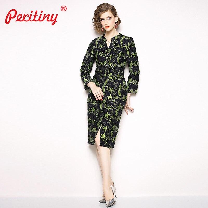 53a872968ee Peritiny Dress Women Winter Sea Animals Jacquard Vestidos Package Hip Robe  Sexy Clubwear Office Casual Slit