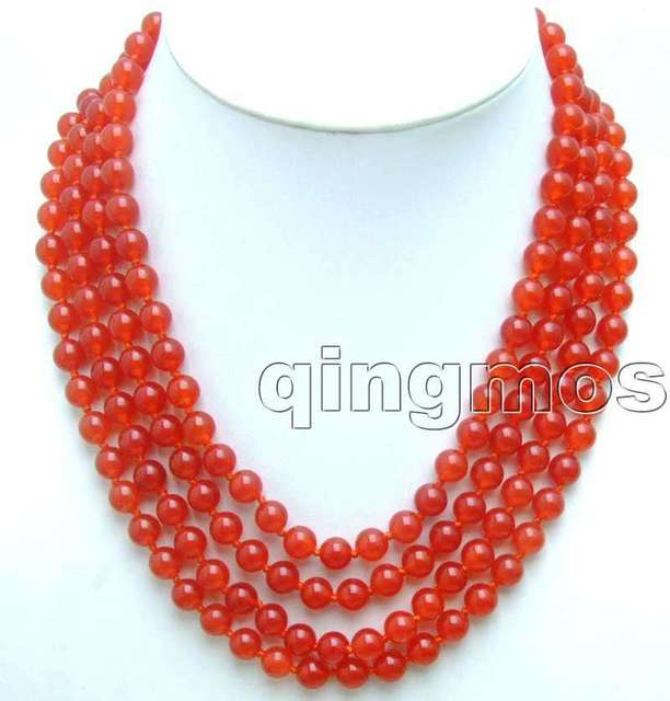 "SALE Beautiful 8mm Red Round jade 4 Strands 18-21"" necklace-nec5181 wholesale/retail Free shipping"