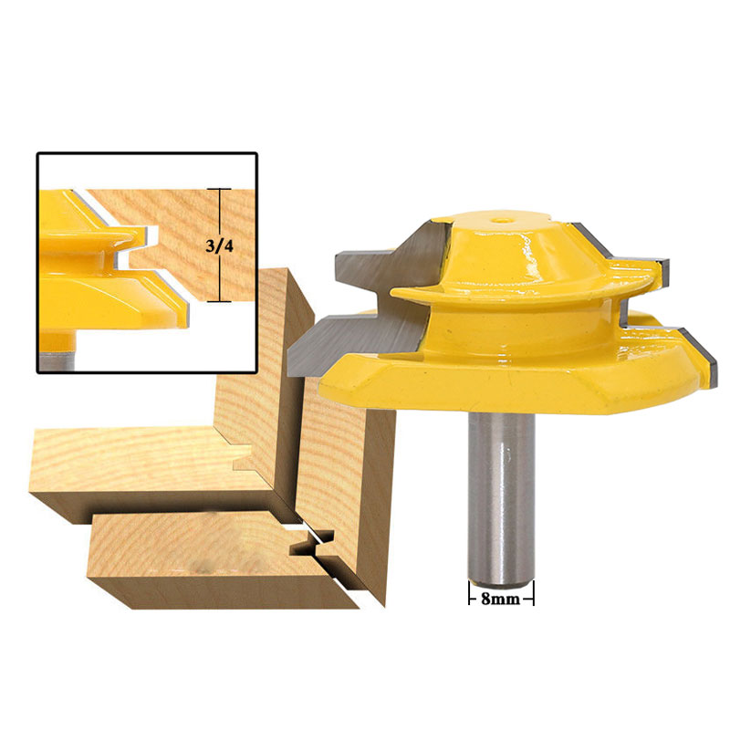 45 Degree - Up to 3/4 Stock Lock Miter Router Bit - 8mm Shank 1pc 8mm shank high quality 45 degree chamfer