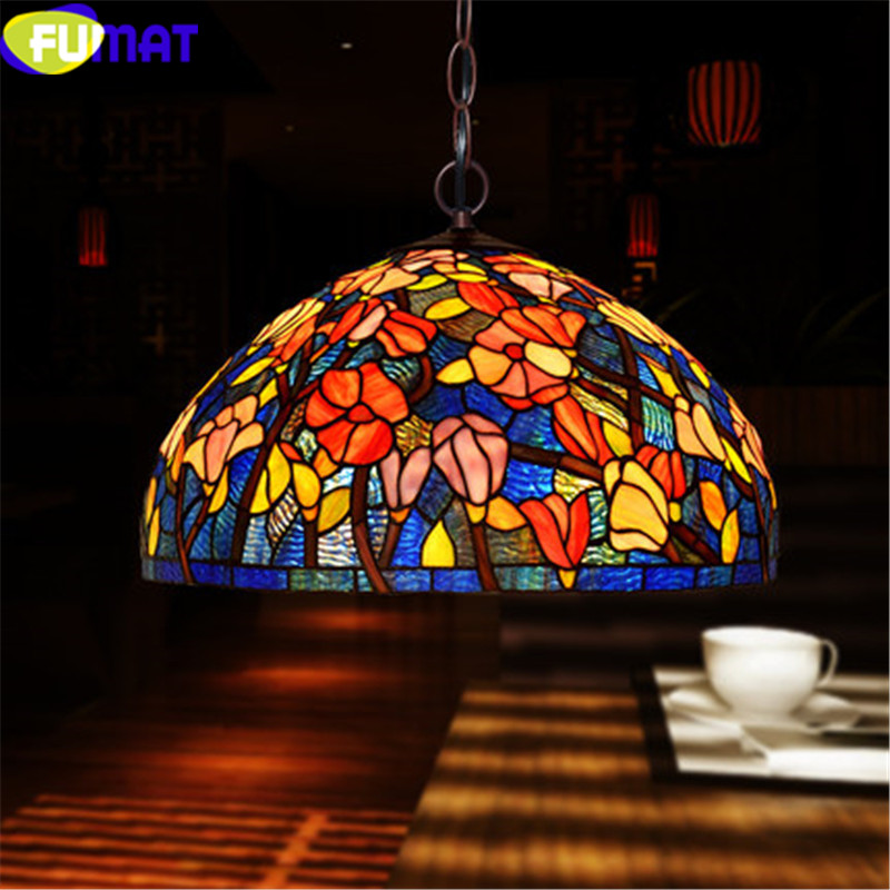 2 stained Glass Pendant ceiling Lamps