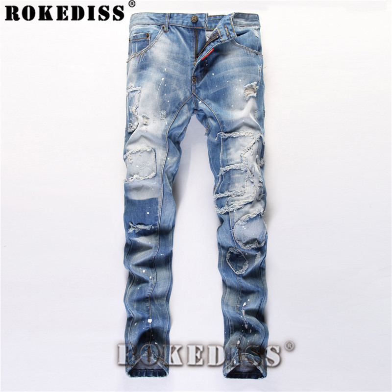 justin bieber jeans 2017 Spring and Autumn fashion Tide male Hole Slim patch Straight pants Splicing In the waist trousersC145