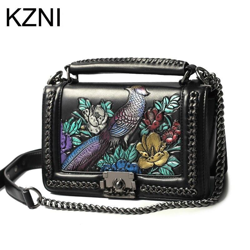 KZNI для женщин пояса из натуральной кожи тиснением сумки известных брендов дизайнер высокое качество Pochette Sac основной 8568