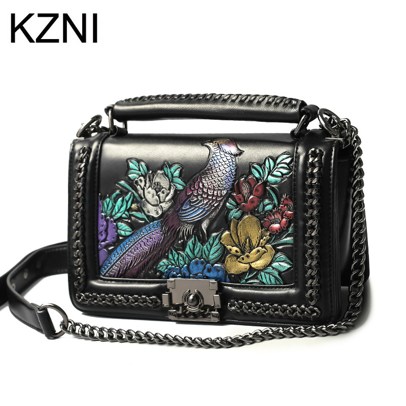KZNI Women Genuine Leather Embossed Bags Handbags Women Famous Brands Designer Handbags High Quality Pochette Sac a Main 8568 kzni genuine leather handbag women designer handbags high quality phone bag purses and handbags pochette sac a main femme 9022