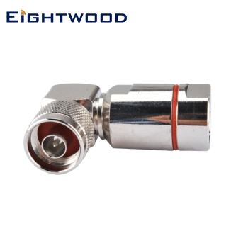 "Eightwood 5PCS N Clamp Plug Male Right Angle RF Coaxial Connector Adapter for Corrugated Copper 1/2"" Coaxial Cable Flexible"