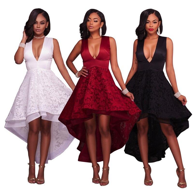 Vestidos De Festa femmes été Sexy col en v robe en dentelle noir blanc rouge robes De soirée élégant Wrap robe Tunique Femme