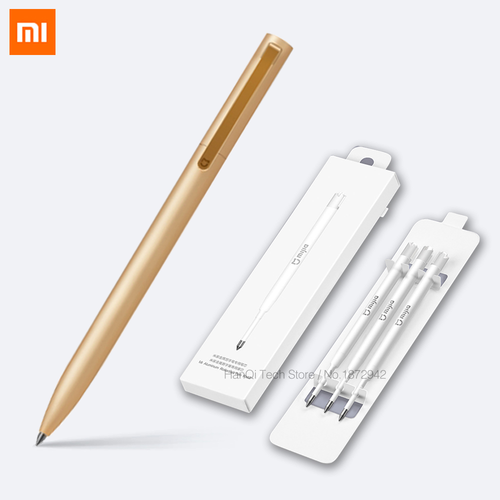 Original Xiaomi New Mijia Metal Sign Pens Mijia Sign Pens Mijia Ink Japan Durable Signing Pens PREMEC Switzerland MiKuni Refills original xiaomi mijia sign pens 9 5mm signing pens premec smooth switzerland refill mikuni japan ink add pens black blue refill