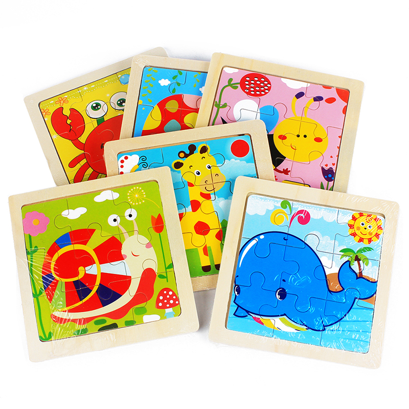 Kids Toy Wood Puzzle Small Size 11*11cm Wooden 3D Puzzle Jigsaw For Children Baby Cartoon Animal/Traffic Puzzles Educational Toy