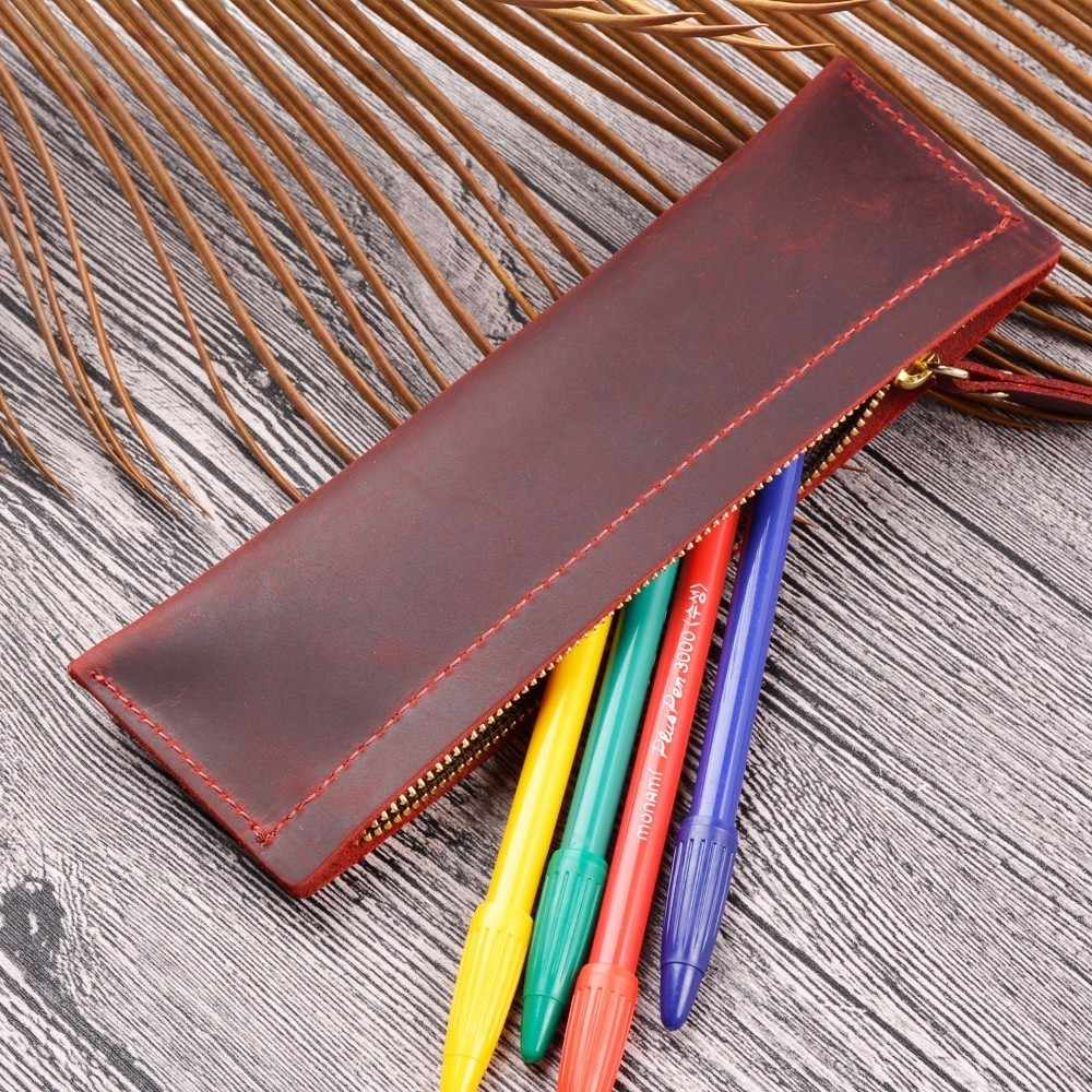 100% Genuine Leather Zipper Pen Bag Pencil Pouch Case Creative Genuine Cowhide Leather Cute Stationary Large Capacity School Bag