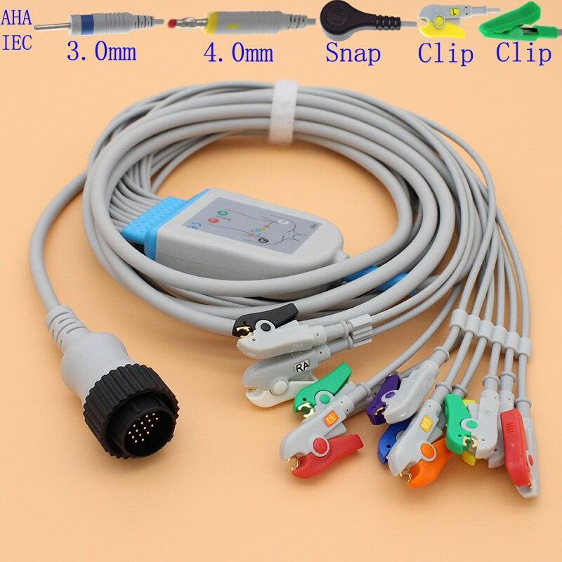 Câble 16 P ECG EKG 10 fils et fil d'électrode pour PC-104 Kanz/moniteur Cardioline/Remco, AHA/IEC/3.0 din/4.0 banane/snap/clip.
