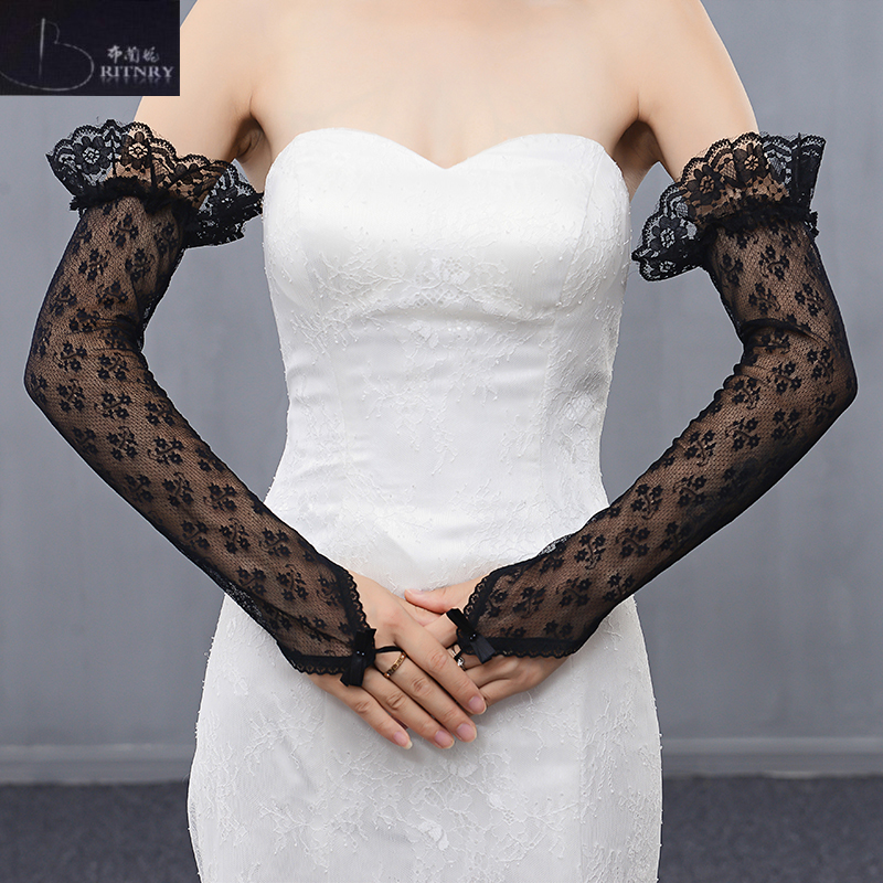 BRITNRY Fingerless Black Cheap Wedding Gloves Party Bride Elbow Length Lace Gloves Wedding Accessories