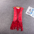 Fall new European and American big V - collar locomotive heavy nail bead fringed short section suede vest womendo642