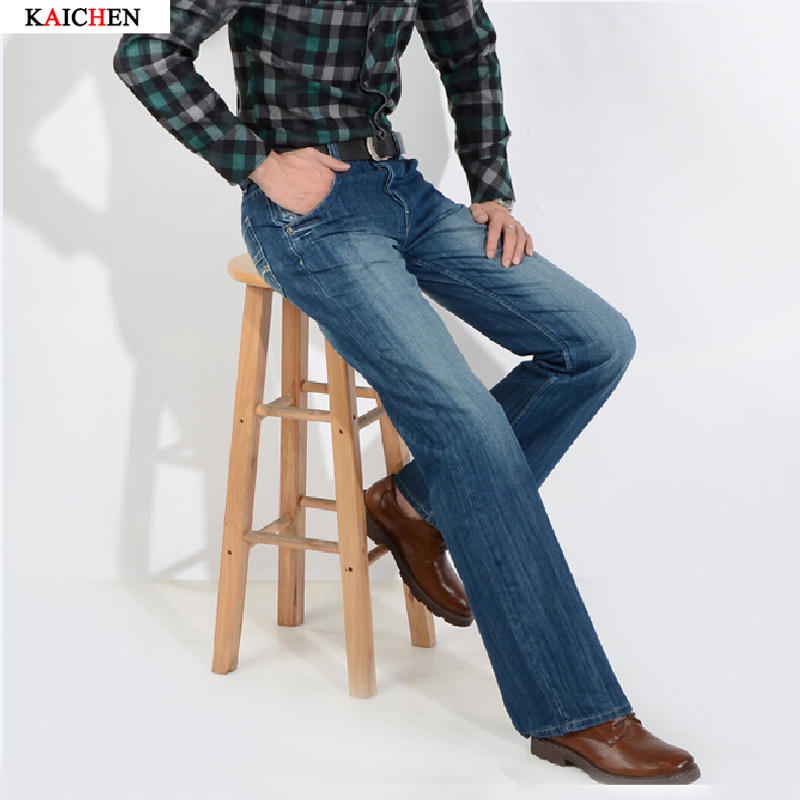 ФОТО High Quality 2016 men's bell bottom jeans male elastic slim denim boot cut trousers Handsome Loose Casual Business Flares Pants