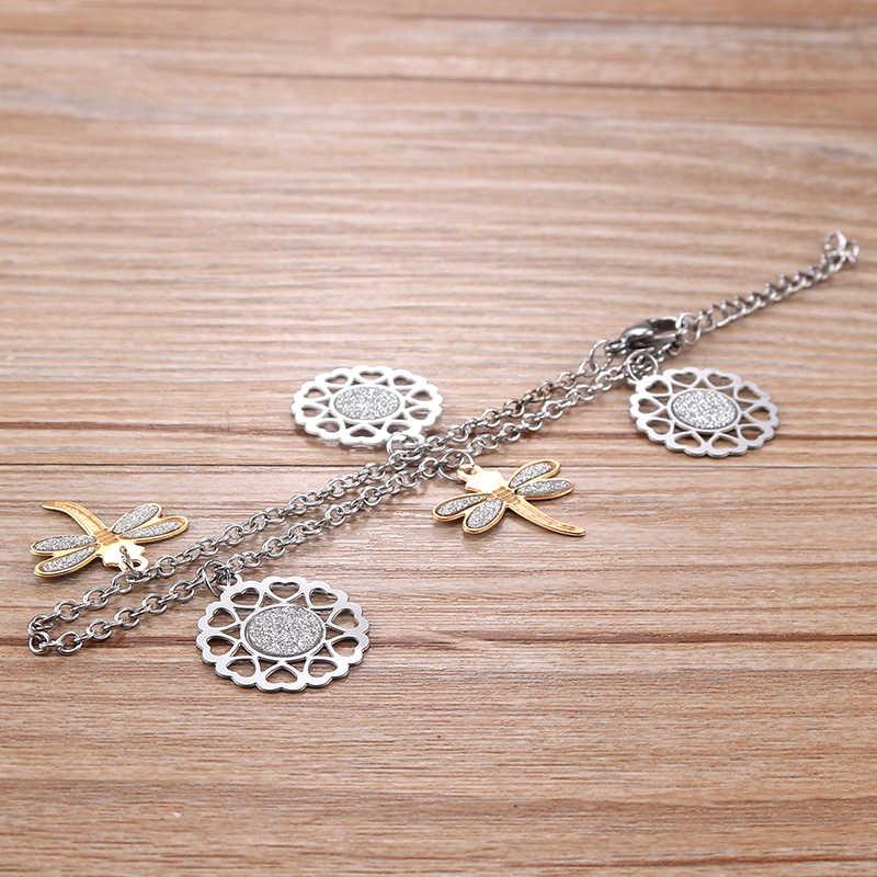Nowa hurtownia bransoleta ze stali nierdzewnej srebrny hollow out serce z złota ważka bransoletka biżuteria dla kobiet Br032910