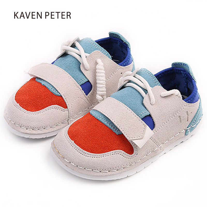 2018 boy casual shoes Kids leather shoes Children barefoot shoes soft sole gril Genuine Leather baby sneakers toddler sneakers