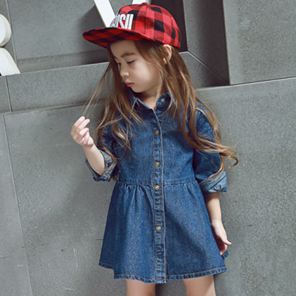 2016 NeW Spring autumn PRINCESS girls long sleeved  denim dress lapel casual kida girls dresses For 2-7 years girls baby clothes qiu dong children dress long sleeved cinderella princess dress love sally dresses of the girls