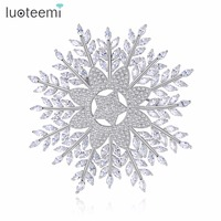 LUOTEEMI Excellent Good Superior Exceptional Snowflake Shape Clear Brooch Shiny Copper Cubic Zirconia AAA Fit For