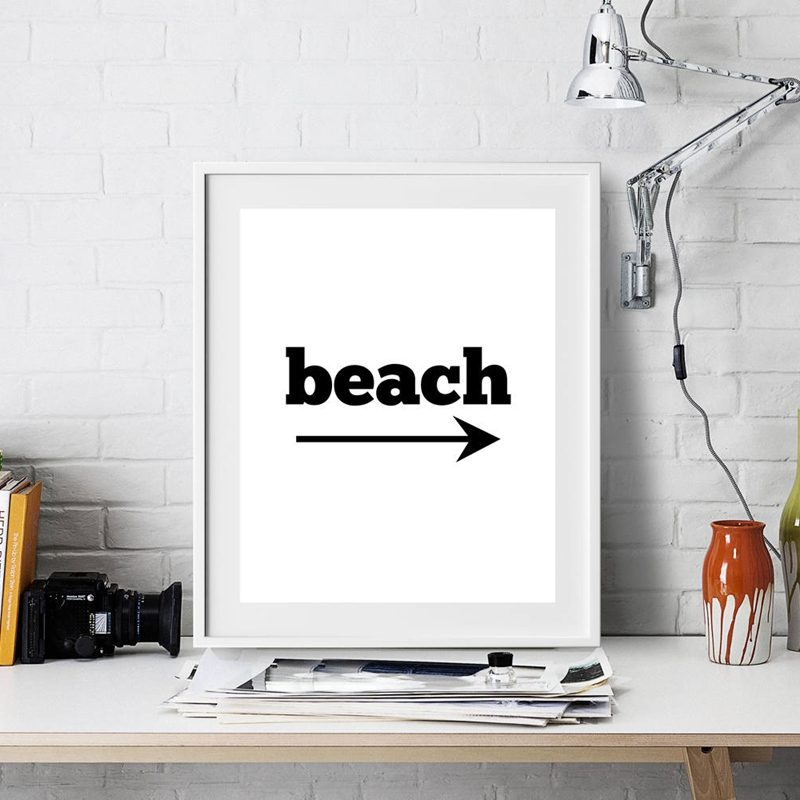 Beach Art Decor Black And White Palm Trees Canvas Print Landscape Painting Wall Picture Living Room Home In Calligraphy From