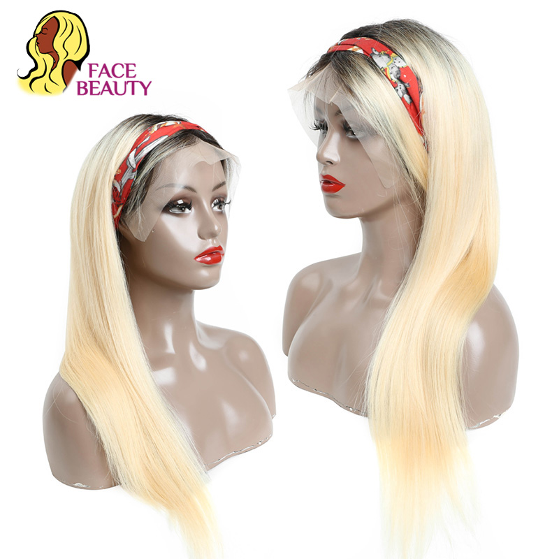 Facebeauty 150 Density 1B613 Remy Weft Weave Wig Piece European Russian Blonde Ombre Human Hair Lace