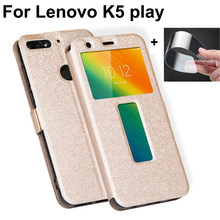 Open window capas For Lenovo K5play Case Cover Luxury PU Leather Flip Cover For Lenovo K5 play shell For Lenovo L38011 coque(China)