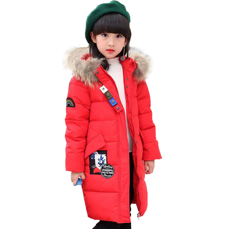 2017 Fashion Girl winter down Jackets Children Coats warm baby 100% thick duck Down Kids Outerwears for cold -30 degree jacket new winter girls boys down jackets baby kids long sections down coats thick duck down warm jacket children outerwears 30degree