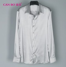 A large number of men's fat heavy silk shirt sleeve to add fertilizer to increase loose silk shirt color