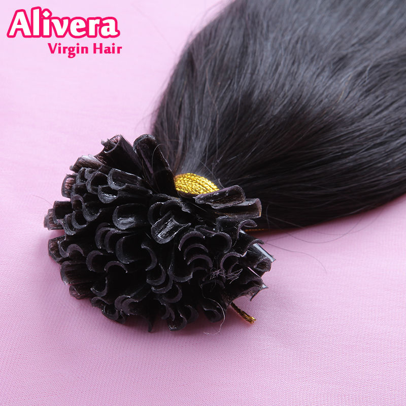 Alivera 7a Pre Bonded U Tip Hair Extension 1g 100 Strands Nail Tips Keratin Fusion Straight Remy Brazilian Human Extensions In