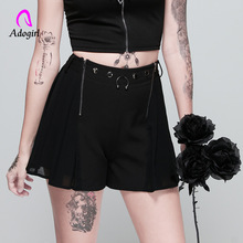 women Gothic shorts Punk Harajuku Casual Chic Preppy Style Pleate Black Female Fashion zipper fly mesh Stitching Shorts Skirts