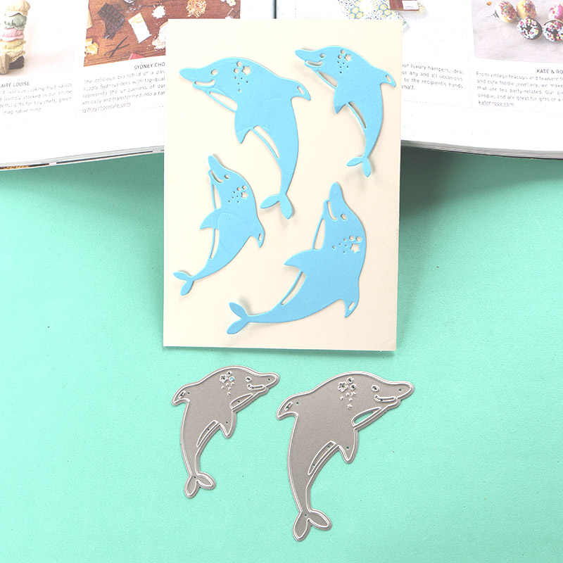 DUOFEN METAL CUTTING DIES 050012 dolphin stencil for DIY papercraft  projects Scrapbook Paper Album geeting cards
