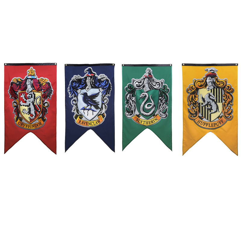 125cm Magic Home Decoration Harry Potter Party Supplies College Flag Gryffindor Slytherin Hufflerpuff Ravenclaw Banners font