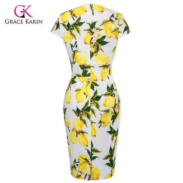 Grace Karin Short Evening Dress Plus Size Women Clothing Elegant Floral Lemon Print Bodycon Pencil Sheath Evening Party Dresses