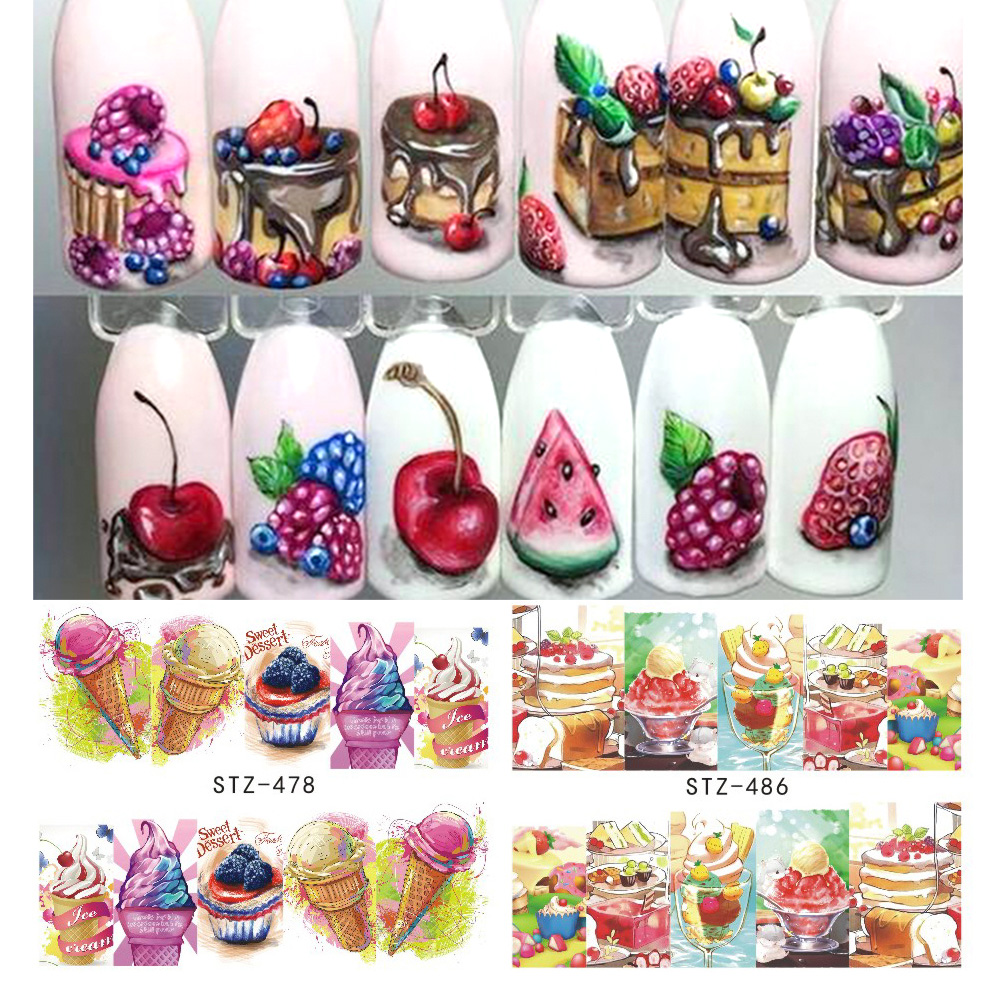 1PCS Summer Ice Cream Fruit Strawberry Cherry Cake Nail Art Water Transfer Sticker Decor Slider Decal Manicure Tool JISTZ474-488