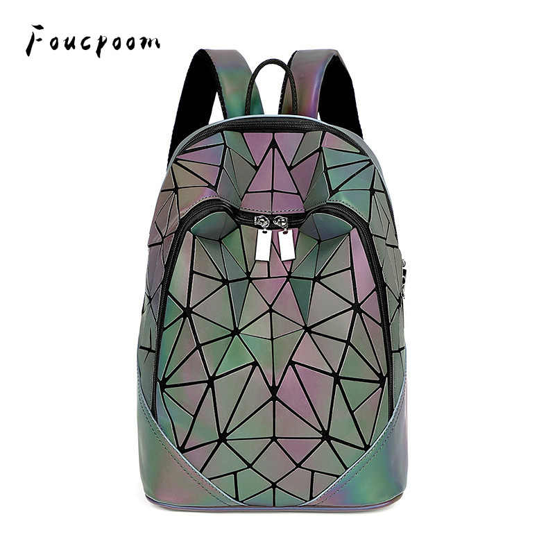 Luminous Set Women Backpack Quilted lattice School Backpacks
