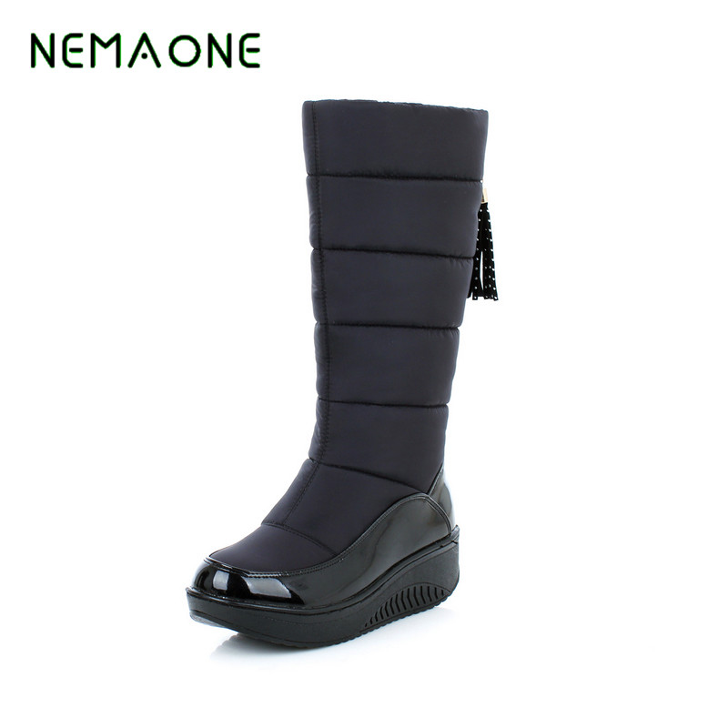 NEMAONE Hot Sale Shoes Women Boots Solid Slip-On Soft Cute Women Snow Boots Round Toe Flat with Winter Fur Ankle Boots sgesvier warm snow boots ankle boots high heel wedge boots retro round toe slip on casual shoes winter shoes for women ox148