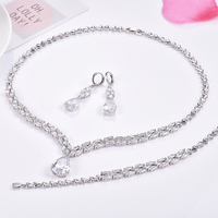 GULICX Dancing Luxury Wedding Accessories African CZ Beads Jewelry Sets Crystal Bridal Necklace Earrings Bracelet For Brides
