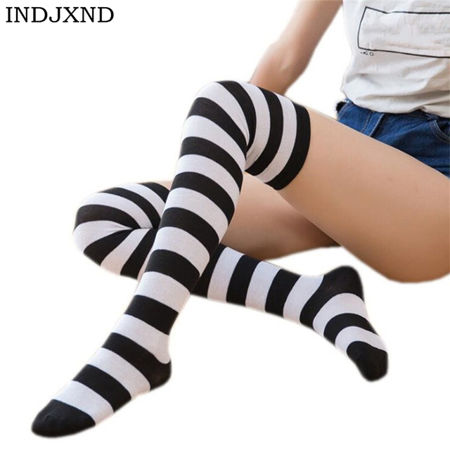 0622c1291 Sexy Medias Fashion Striped Knee Socks Women Cotton Thigh High Over The Knee  Stockings For Ladies Girls 2018 Warm Long Stocking
