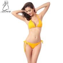 цена на 2019 Summer Women Cross Strap Candy Color  Bikini swimsuit Bikini Set Bra Swimwear Triangle Bathing  Suit Swimming Suit biquini