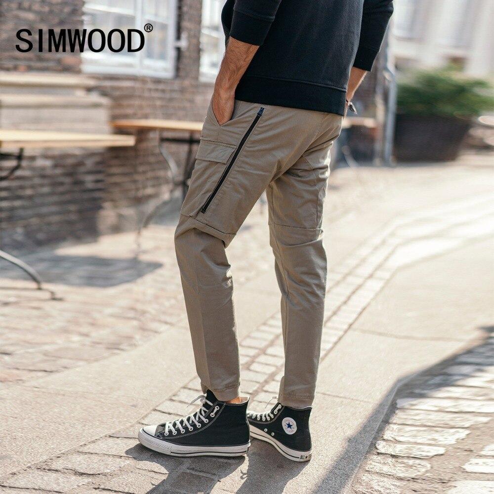 SIMWOOD Мода 2018 г. штаны-карго для мужчин карман на молнии по щиколотку уличная тактические брюки хип-хоп брендовая одежда 180425