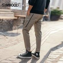 SIMWOOD 2020 moda Cargo spodnie mężczyźni kieszeń na suwak kostki Streetwear spodnie taktyczne Hip Hop odzież marki 180425