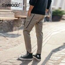 SIMWOOD 2020 moda kargo pantolon erkekler fermuar cep ayak bileği uzunlukta Streetwear taktik pantolon Hip Hop marka giyim 180425