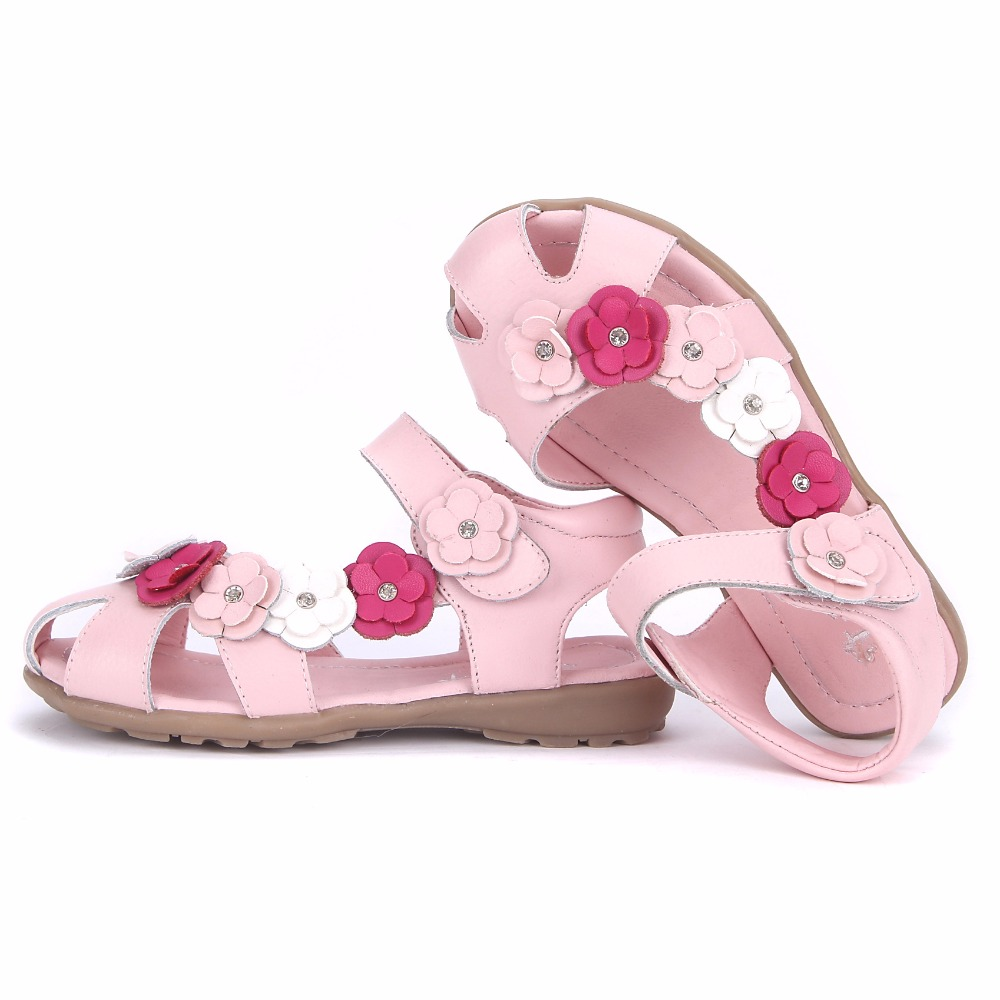 1-14 Years Old Flowers Children Sandals For Girls Genuine Leather Shoes Kids Summer Beac ...