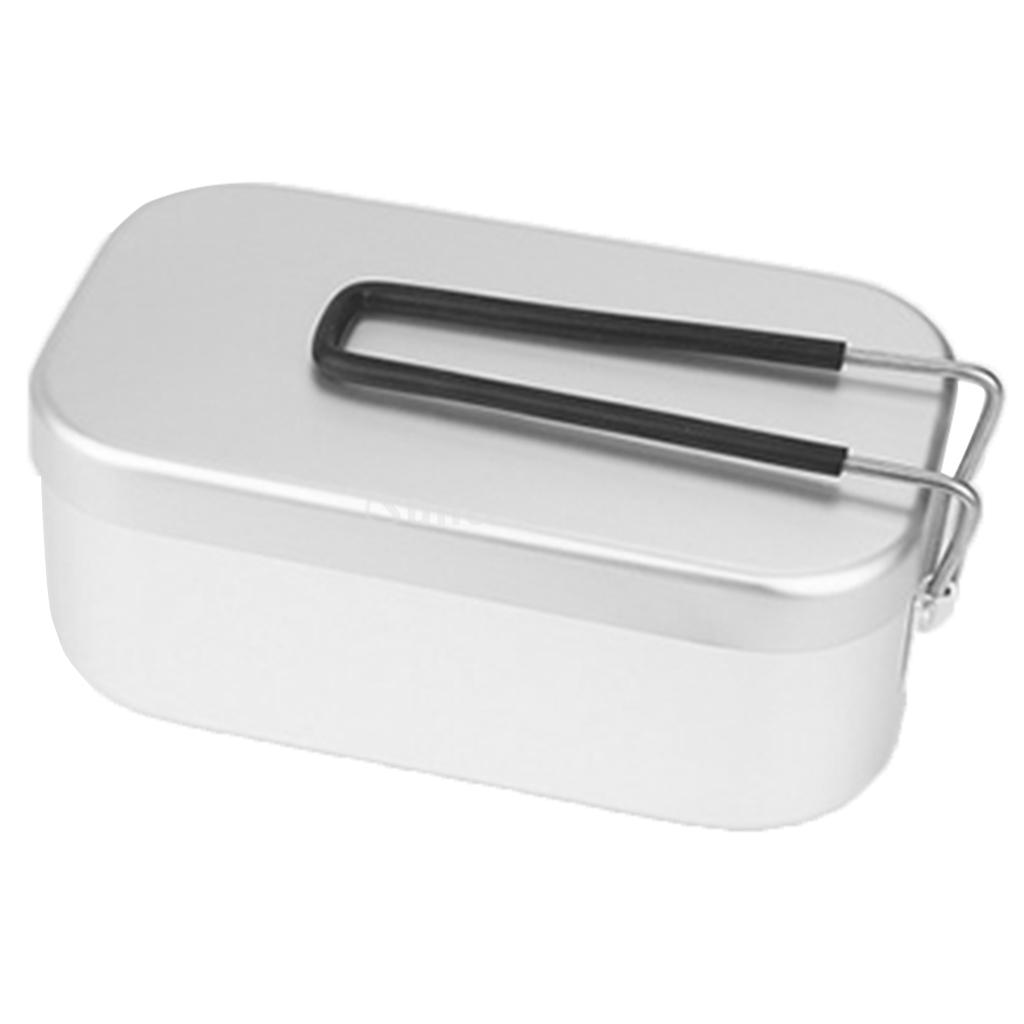 Portable Aluminum Bento Lunch Box Mess Tin Camping Picnic Pot Canteen Outdoor Tableware Cooking Cooker Dinner Pail Bucket