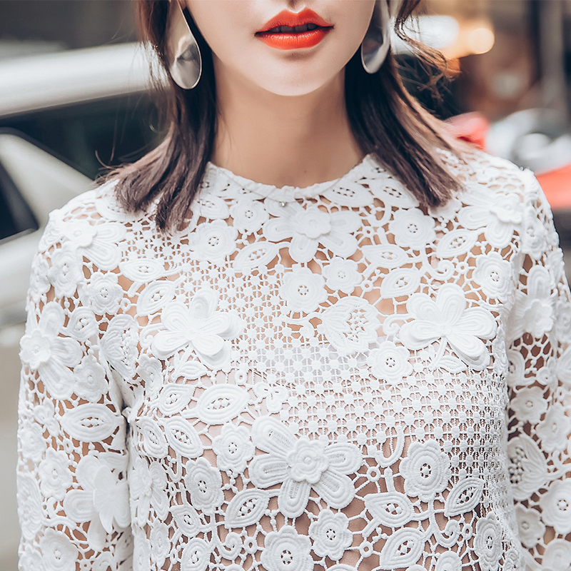 Della Del Vintage Slim Pizzo Partito Autunno Manica Abiti Di Vestiti Bianco Runway Lunga Sexy Dress Da Molla 2018 Portrait Blu Sera Self FEpqxB0