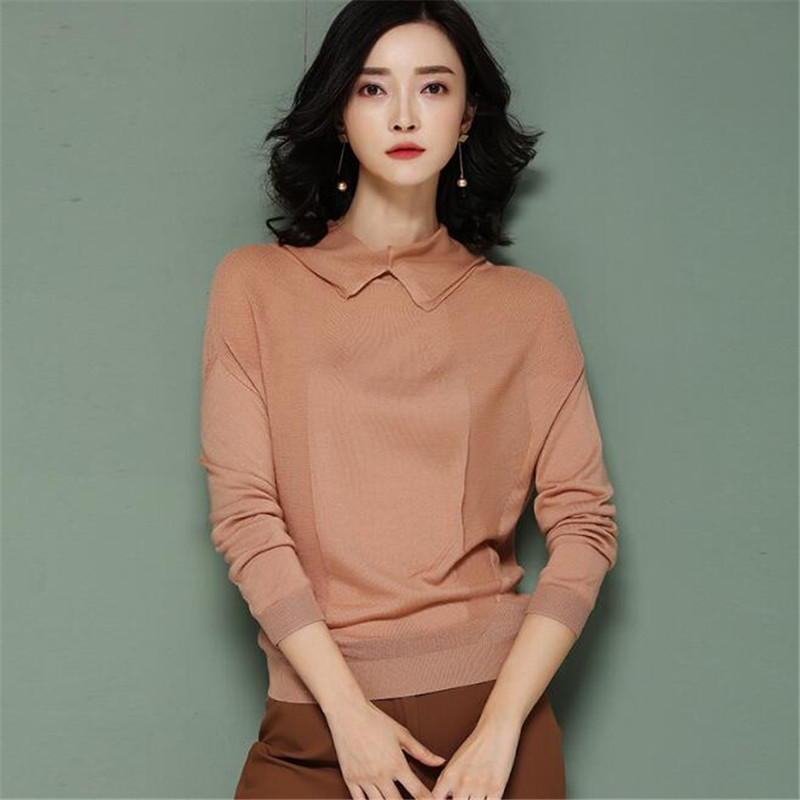 2019 New Spring Autumn Knitted Shirt Women Fashion Casual Pullover Slim Fit Long Sleeve Womens Clothing Black Ma305