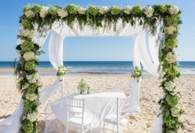 Laeacco Sand Beach Flower Shed Curtain Scene Wedding Photography Backgrounds Customized Photographic Backdrops For Photo Studio