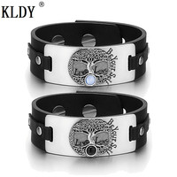 KLDY Couple bracelet pair leather bracelets men stainless steel Cats Eye Braclet Tree of Life armbanden pulsera cuero hombre