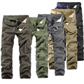2017 Hot Fashion Cotton Men Trousers  Multi-Pocket Solid Cargo Pants Men