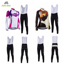 ZEROBIKE Outdoor Sports Women's Long Sleeve Cycling Jersey and Bib Pants Winter Bicycle Clothing ciclismo US Size S-XL