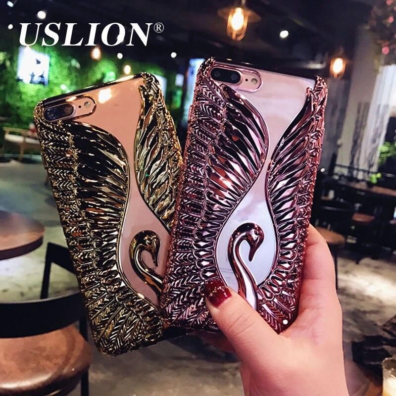 Teléfono de electrochapado de lujo case para iphone 7 6 6 s plus case cisne lind