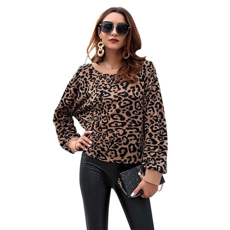 f88ba43caa50 2018 Autumn Women Leopard Print Sweater European Style Wild Knitted  Patchwork Camel Tops Femme Winter Streetwear